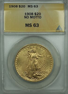 1908 No Motto $20 St. Gaudens Double Eagle Gold Coin ANACS MS-63 BP
