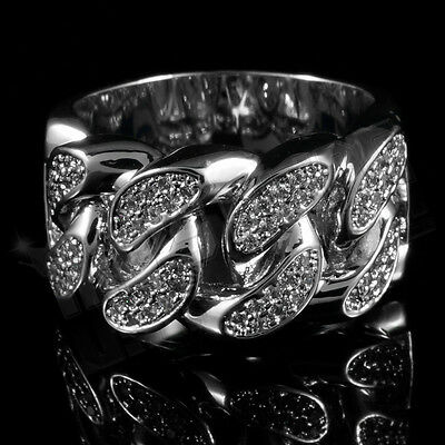 18K White Gold Plated Bling Out Iced CZ CUBAN LINK Band Mens Silver Rhodium Ring