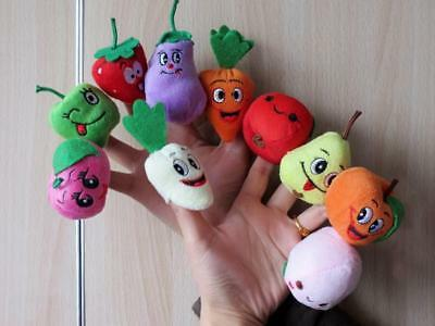 10x Lovely Plush Fruits Vegetables Finger Puppets Kids Educational Story-telling