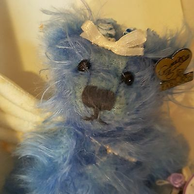 """ANNETTE FUNICELLO BEARS LE Blue Belle Angel Bear 7"""" mohair #3462 with wings"""