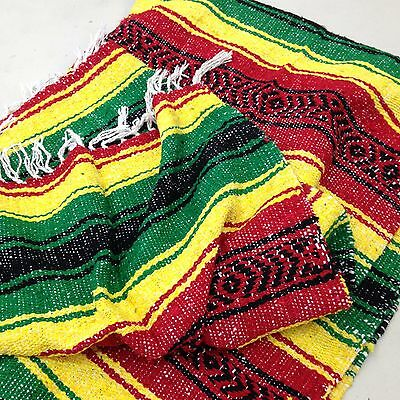 Authentic Mexican Falsa Yoga Blanket Hand Woven Sarape Throw Made in Mexico
