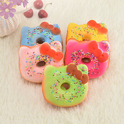 Cute Kitten Bow Squishy Doughnut Bread Scented Phone Tag Strap Toy Key Chain