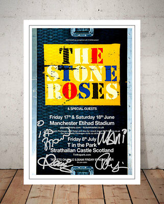 The Stone Roses Manchester 2016 Concert Flyer Autograph Signed Photo Print