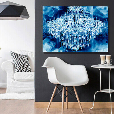 Chandelier Crystal Glamour Blue Stretched Canvas Prints Wall Art Sizes Home Deco