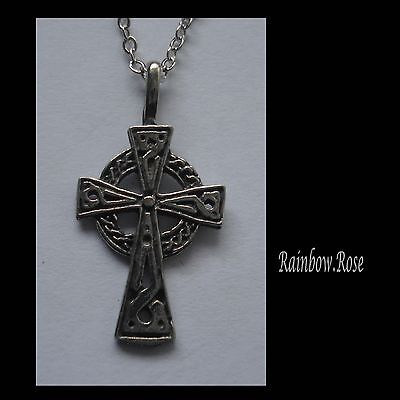 Chain Necklace #2345 Pewter LITTLE CELTIC CROSS (27mm x 14mm)