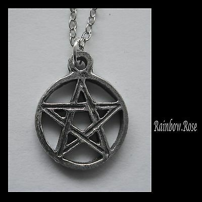 Chain Necklace #2349 Pewter TINY PENTAGRAM (17mm x 14mm)