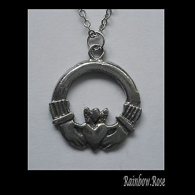 Chain Necklace #2354 Pewter Claddagh (24mm x 20mm) Irish token of Love