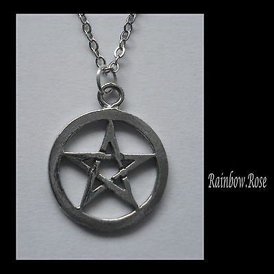 Chain Necklace #2355 Pewter SMALL PENTAGRAM (20mm x 17mm)