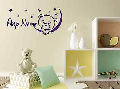Personalised Teddy Bear on The Moon Stars Baby Any Name Vinyl Wall Sticker Decal