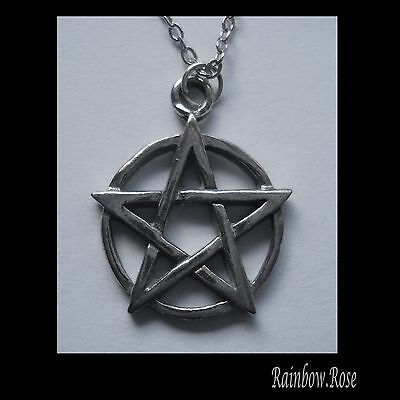 Chain Necklace #2373 Pewter PENTAGRAM circle (23mm x 19mm)