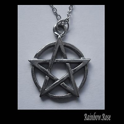 Pewter Necklace on Chain #2373 PENTAGRAM circle (23mm x 19mm)