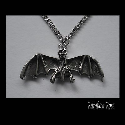Chain Necklace #2445 Pewter BAT x (33mm x 12mm) GOTH