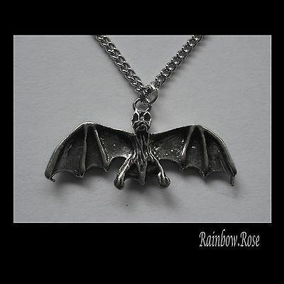 Pewter Necklace on Chain #2445 BAT x (33mm x 12mm) GOTH