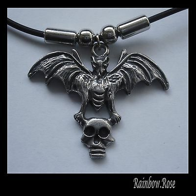 Choker #1000 BAT with SKULL (44mm x 35mm) GOTH Rubber Silicon Necklace unisex