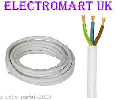 13A 13 Amp 3 Core Mains Cable Wire Flex White Priced Per Meter Cut To Order