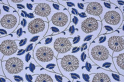 2.5 Yards Pure Hand Block Printed Cotton Fabric Floral Printed Fabric Indian