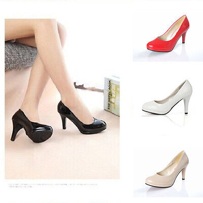Women's Fashion Sexy Color Pointed Toe Patent Pump Heels Shoes Size