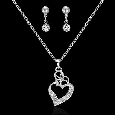 Wedding Bridal Prom Crystal Rhinestone Pendant Necklace & Earrings Jewelry Set