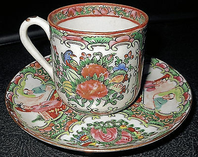 c1920 Lovely Rose Medallion Chinese Export Demitasse Cup and Saucer