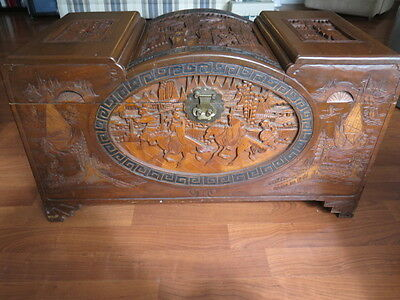 Antique Large Chinese Carved Dome Camphor Wood Chest