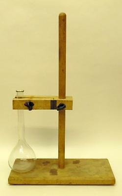 Vintage Wooden Laboratory Stand With 250ml Glass Volumetric Flask