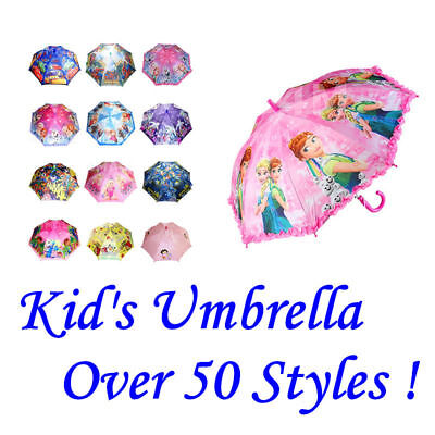New Kids Girls Boys Character Umbrella Raincoat Rainproof Parasol Sunshade Gift