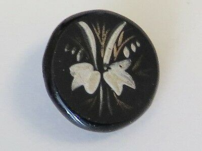 Sweet Antique Enamel on Black Glass Button - Plant Life