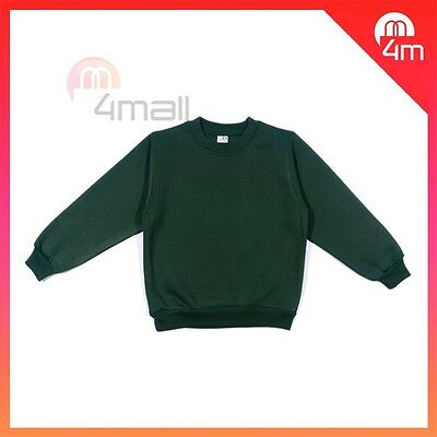 Boys Girls Kids Fleecy Fleece School Wear Uniform Jumper Sz Sweatshirt Green