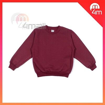 Boys Girls Kids Fleecy Fleece School Wear Uniform Jumper Sz Sweatshirt Maroon