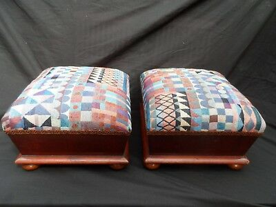 Antique pair of 19th Century Victorian foot stools .