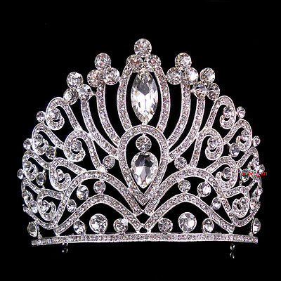 10cm High Adult Large Full Crystal Wedding Bridal Party Pageant Prom Tiara Crown