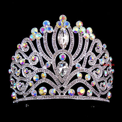 10cm High Adult Large AB Crystal Wedding Bridal Party Pageant Prom Tiara Crown