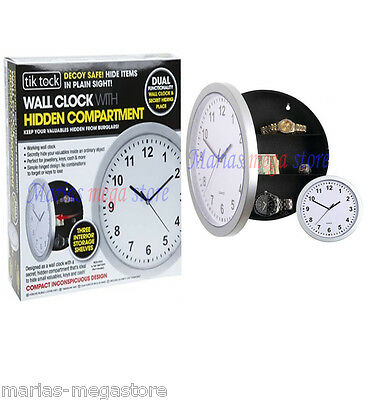New Silver Wall Clock Safe With Secret Hidden Compartment Money Stash Jewellery