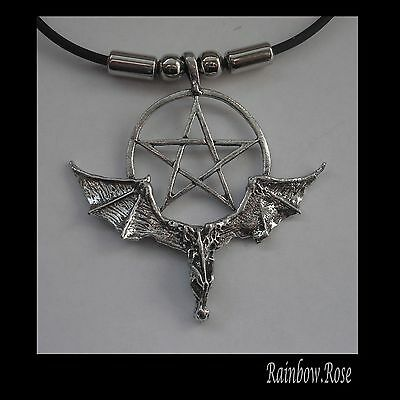 Choker #1117 BAT & PENTAGRAM (53mm x 51mm) GOTH Rubber Silicon Necklace UNISEX