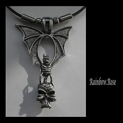 Choker #1173 BAT & SKULL (64mm x 43mm) Rubber Necklace Unisex PENDANT GOTH
