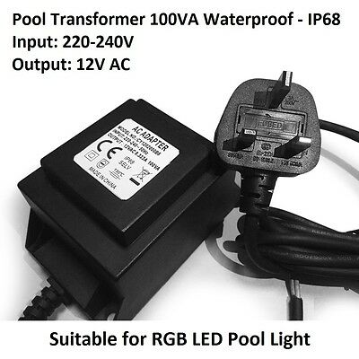LED Pool Lights Transformer Power Convert Input 220-240V to 12V AC 100VA Output