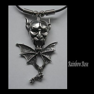 Choker #1229 DEVIL HEAD & BAT (63mm x 39mm) LUCIFER Rubber Necklace GOTH PENDANT