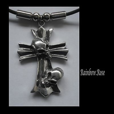 Choker #1232 CROSS 2 SKULLS (348mm x 32mm) Rubber Necklace GOTH PENDANT