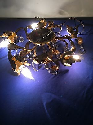 Vintage Gold Leaf Ceiling Sconce/ Light Fixture 5 Bulbs