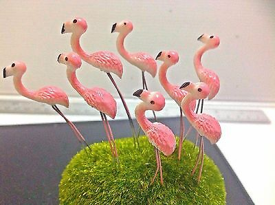 Miniature Dollhouse FAIRY GARDEN Accessories-5 Tiny pink colors Flamingo Picks.