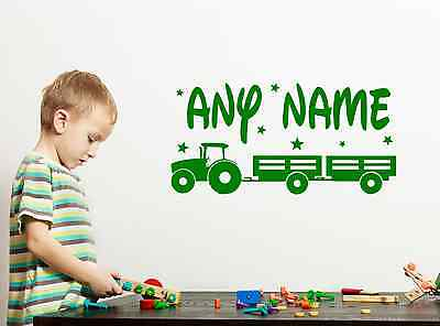 Personalised Tractor Any Name Vinyl Wall Art Sticker Decal