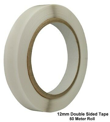 12mm Clear Double Sided Sellotape Strong Tape Roll Permanent Self Adhesive (50m)