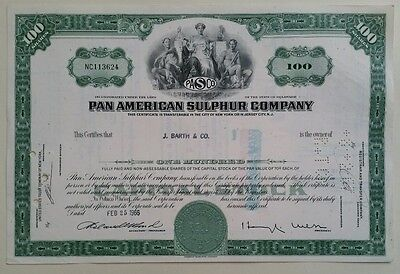 1966 Pan American Sulphur Company 100 Share Certificate Scripophily