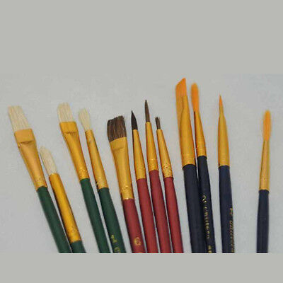 10 Artist paint brushes 3 x Synthetic 3 x Natural Hair 4 x Bristle FREE POST