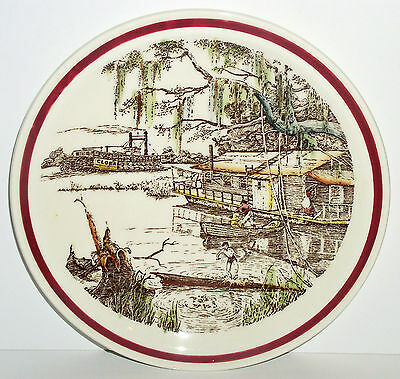 1940 HOUSE BOAT ON RIVER Vernon Kilns BITS OF OLD SOUTH Collector PLATE Vintage