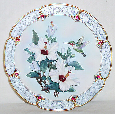 ROSE COLORED DAWN Sculpted HUMMINGBIRD 1st Issue PLATE Bradford Exchange w COA