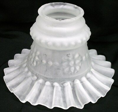Vintage Ruffled Glass Floor Lamp Shade 1930s 40s Replacement Re Purpose      (L)