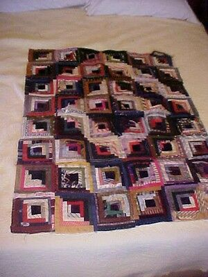 Vintage 1900s QUILT TOP, CRAZY &  LOG CABIN DESIGN,