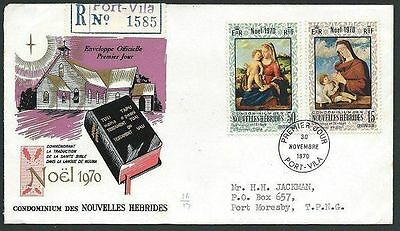 NEW HEBRIDES (French) 1970 Christmas Registered commem FDC................41257
