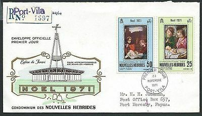 NEW HEBRIDES (French) 1971 Christmas Registered commem FDC................41258